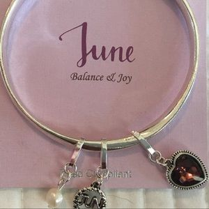 NWT Bangle with three charms representing June